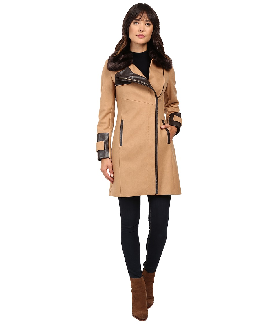 Via Spiga - Asymmetrical Coat w/ Zip Front and Faux Fur Collar (Deep Camel) Women's Coat