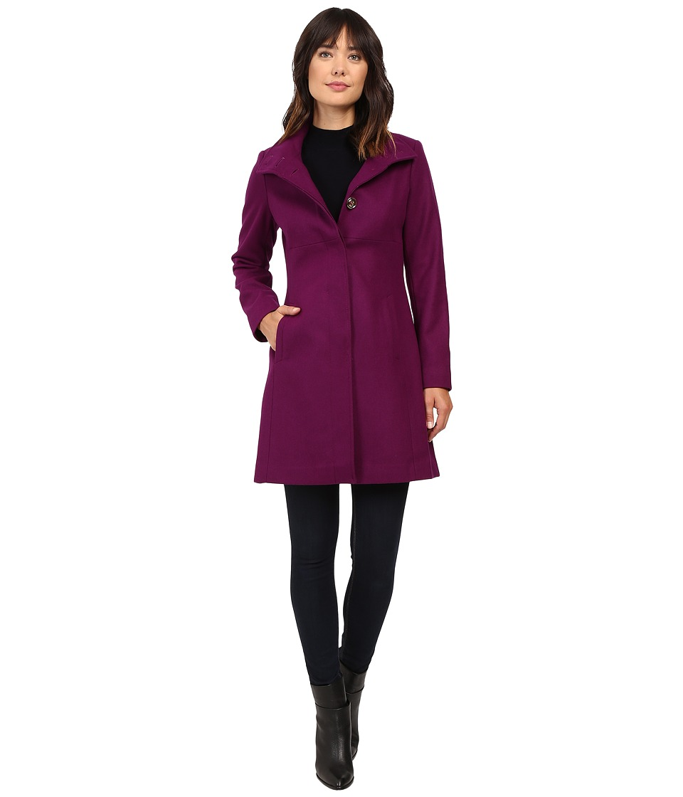 Via Spiga - Stand Collar Wool Coat w/ Buttons (Magenta) Women's Coat