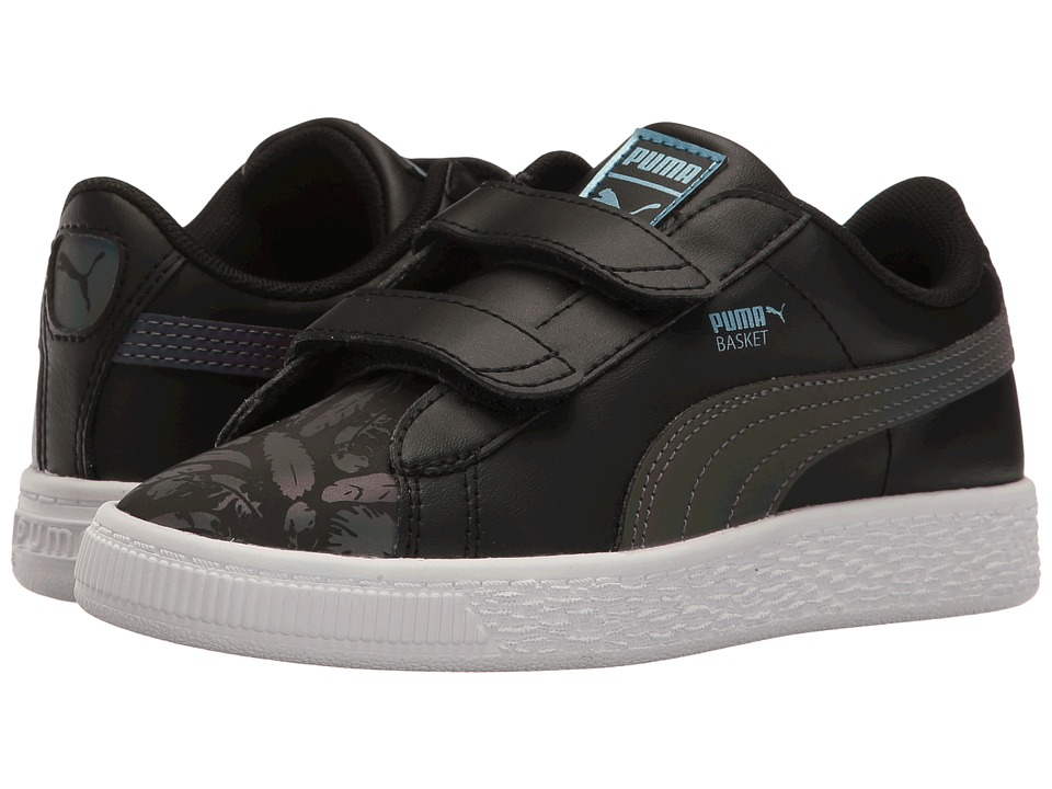 Puma Kids Basket Swan V PS (Little Kid/Big Kid) (Puma Black/Puma Black) Girls Shoes