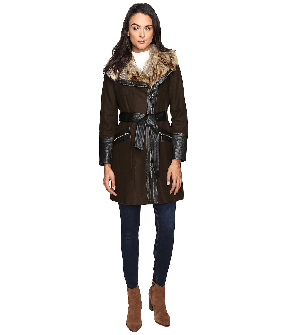 Via Spiga - Asymmetrical Faux Fur Belted Coat w/ PU Detail (Military Green) Women's Coat