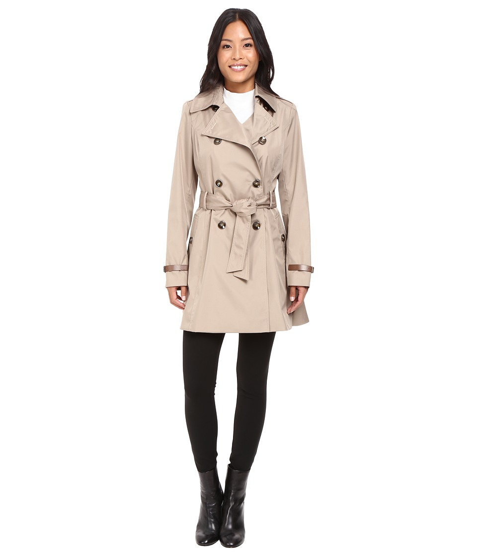 Via Spiga - Double Breasted Trench with Faux Leather Detaiil (Beige) Women's Coat
