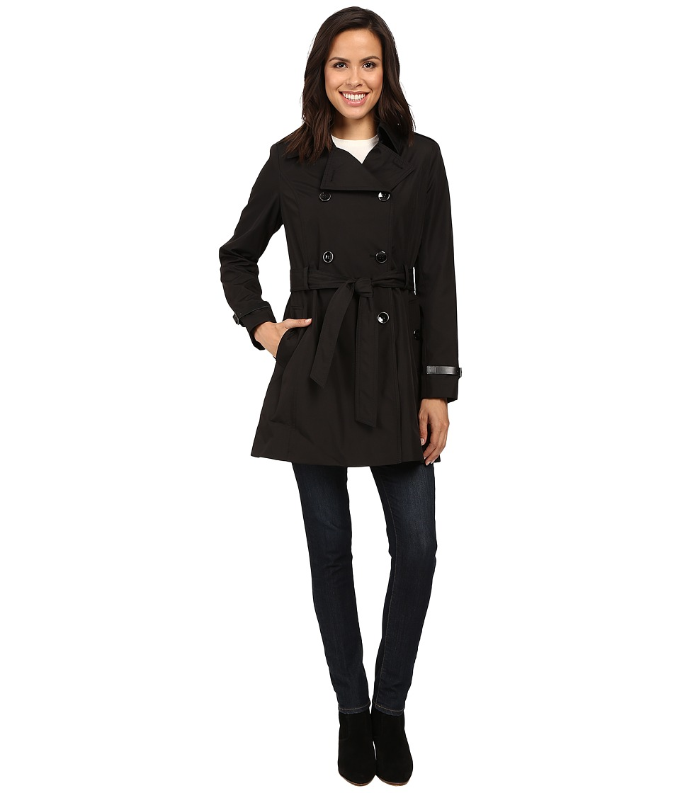 Via Spiga - Double Breasted Trench with Faux Leather Detaiil (Black) Women's Coat