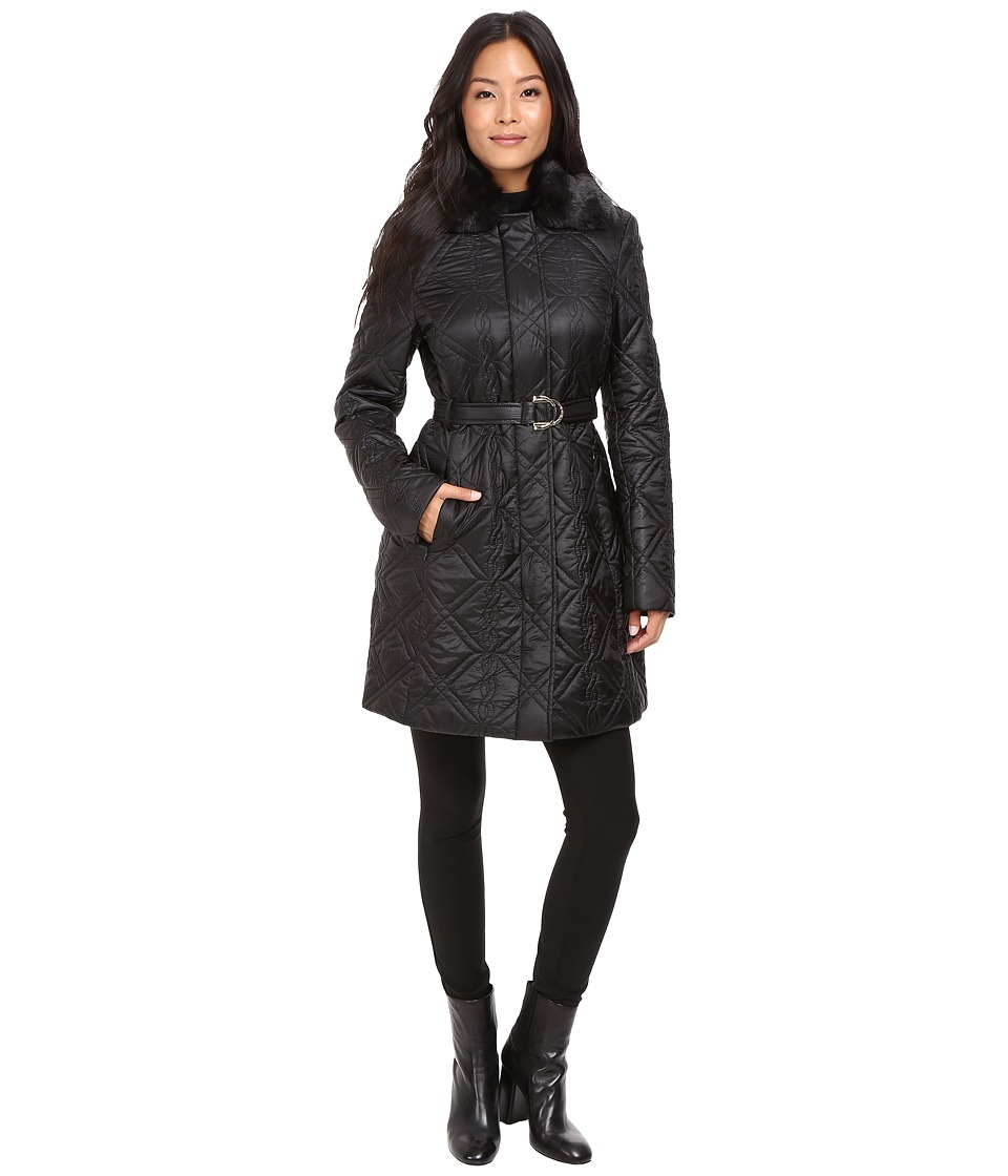 Via Spiga - Fly Away Braided Quilt with Luxe Faux Fur Collar (Black) Women's Coat