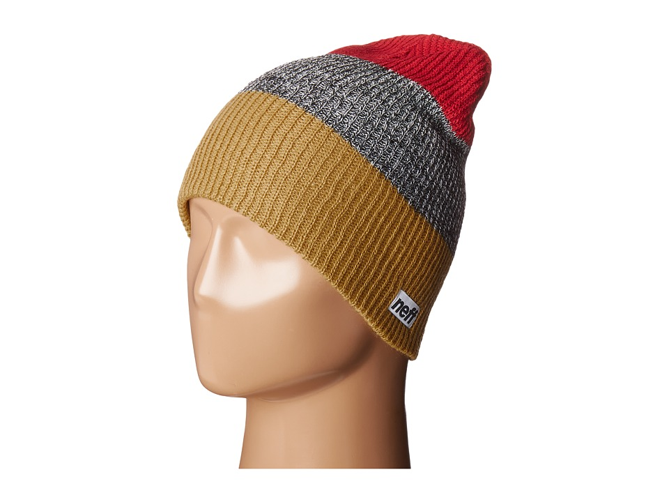Neff - Trio Beanie (Gold/Black Heather/Red) Beanies