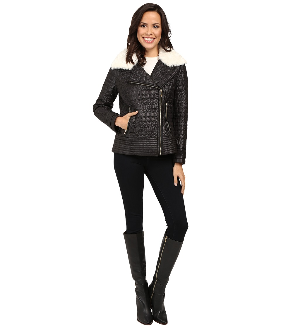 Via Spiga - Asymmetrical Croc Like Quilted Bomber with Removable Luxe Faux Fur Collar (Black) Women's Coat