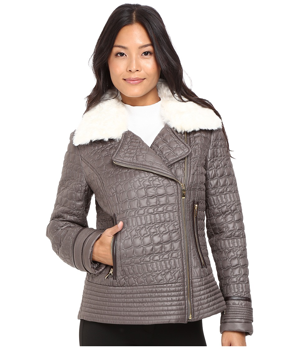 Via Spiga - Asymmetrical Croc Like Quilted Bomber with Removable Luxe Faux Fur Collar (Mushroom) Women's Coat