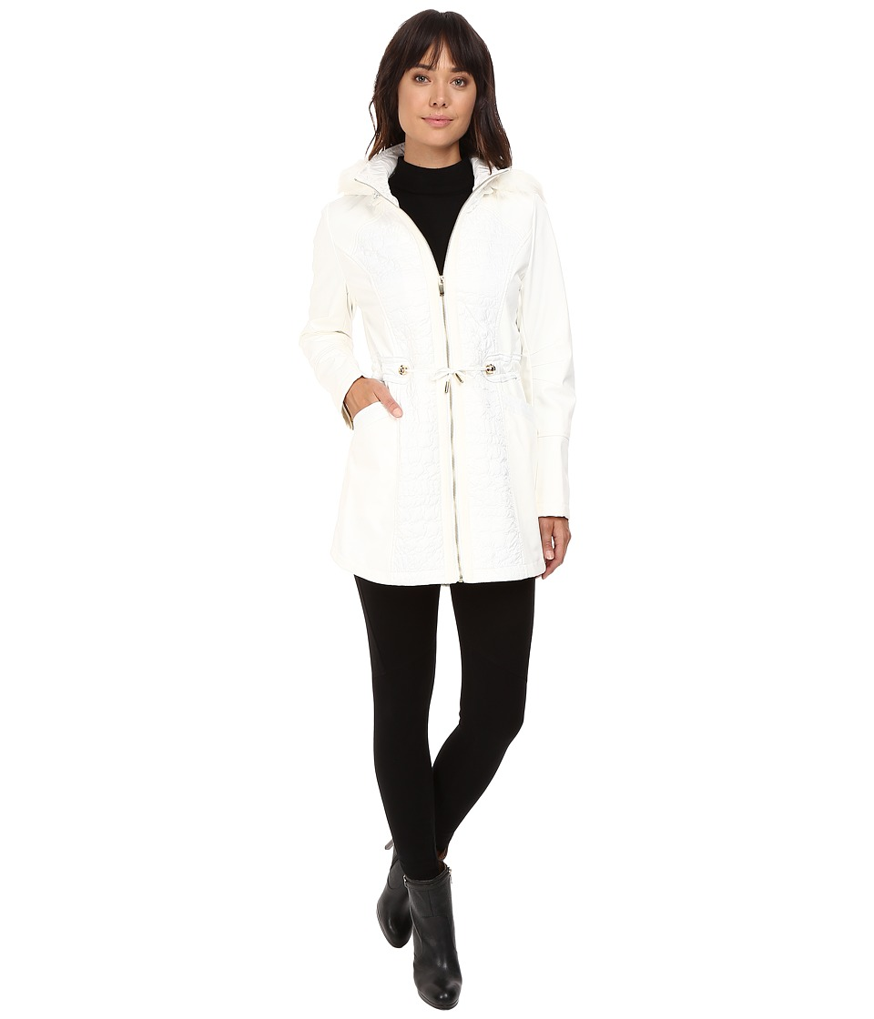 Via Spiga - Mixed Media Anorack with Removable Faux Fur Trimmed Hood (Winter White) Women's Coat