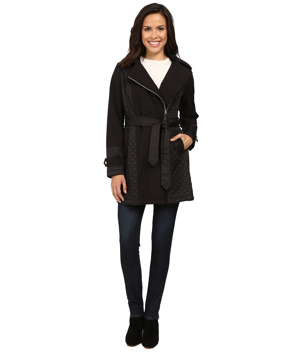 Via Spiga - Asymmetrical Mixed Media Softshell with Removable Hood (Black) Women's Coat