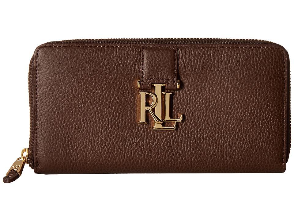 LAUREN Ralph Lauren - Carrington Zip Wallet (Burnished Brown) Wallet Handbags