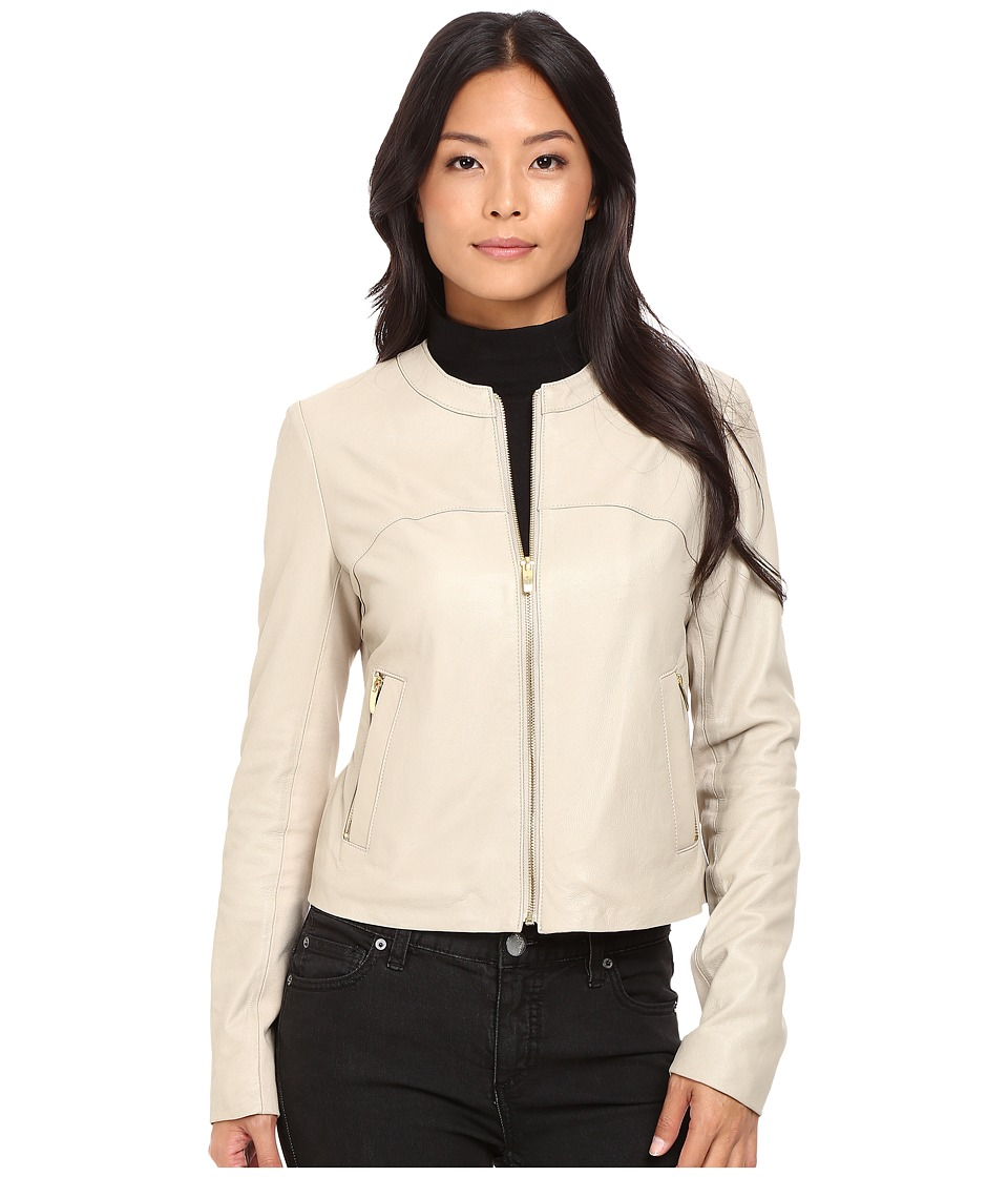 Via Spiga - Collarless Center Zip Leather Jacket (Sand) Women's Coat