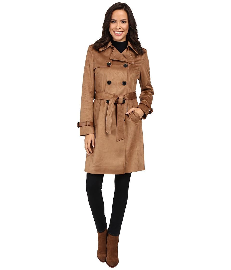 Via Spiga - Faux Suede Double Breasted Belted Trench (Vicuna) Women's Coat