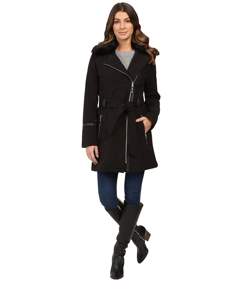 Via Spiga - Asymmetrical Softshell with Removable Faux Fur Collar (Black) Women's Coat