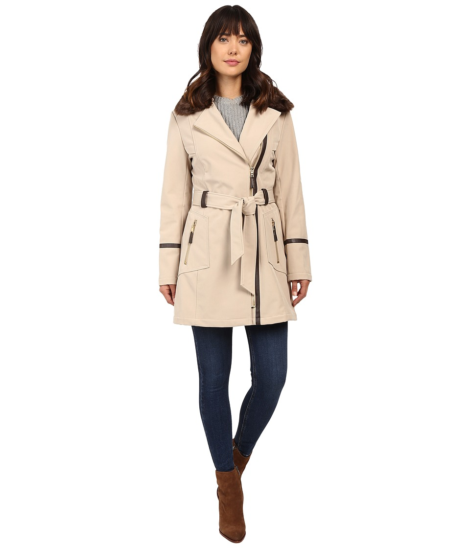 Via Spiga - Asymmetrical Softshell with Removable Faux Fur Collar (Sand) Women's Coat