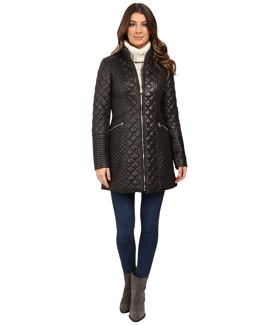 Via Spiga - Mixed Quilt Jacket (Black) Women's Coat