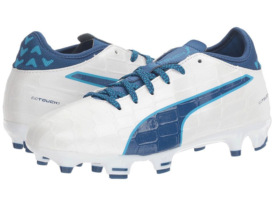 Puma Kids - evoTOUCH 3 FG Jr (Little Kid/Big Kid) (Puma White/True Blue/Blue Danube) Boys Shoes