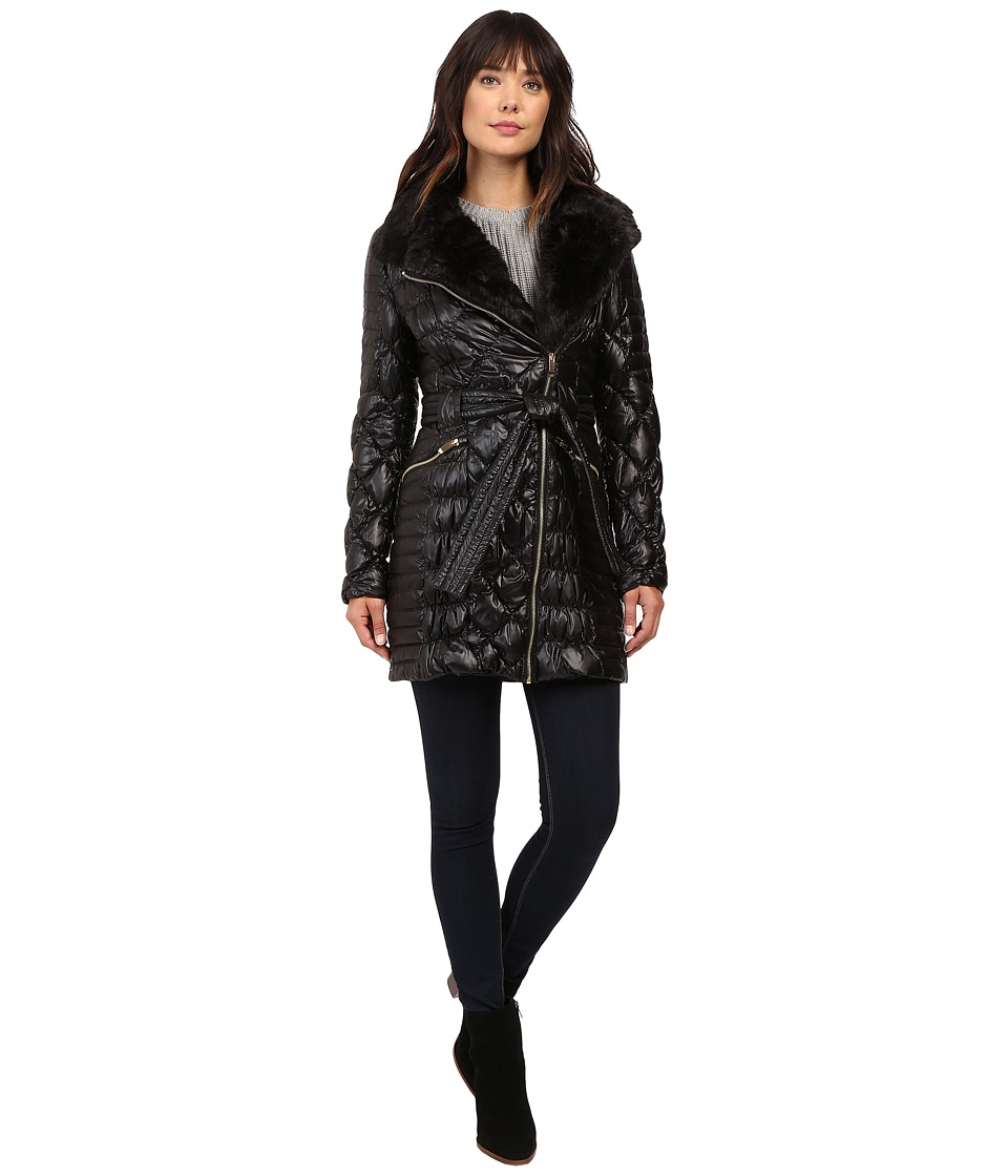 Via Spiga - Kate Middleton Down Coat w/ Faux Fur (Black) Women's Coat