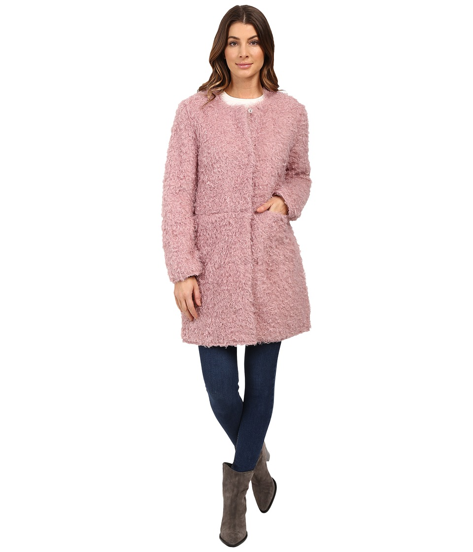 Via Spiga - Curly Faux Fur Coat (Dusty Pink) Women's Coat