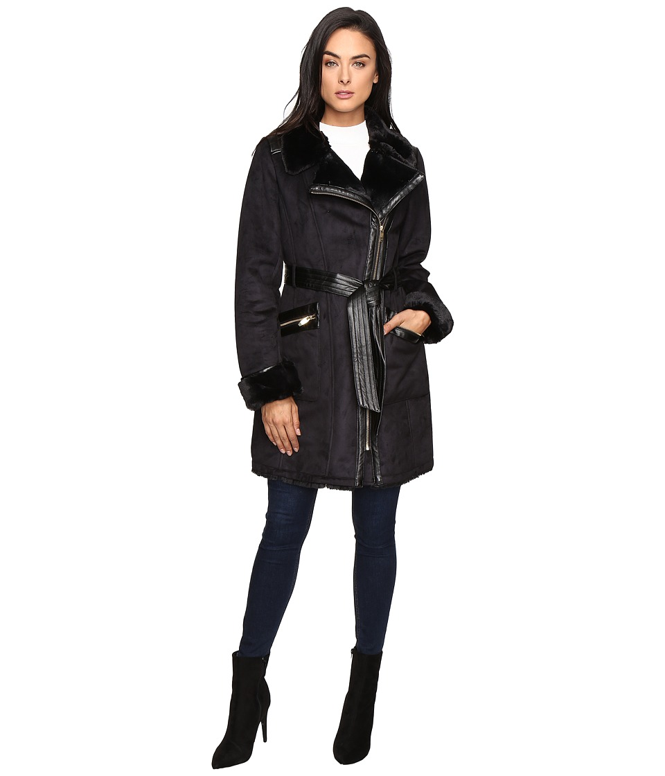 Via Spiga - Faux Shearling Vest (Black) Women's Coat