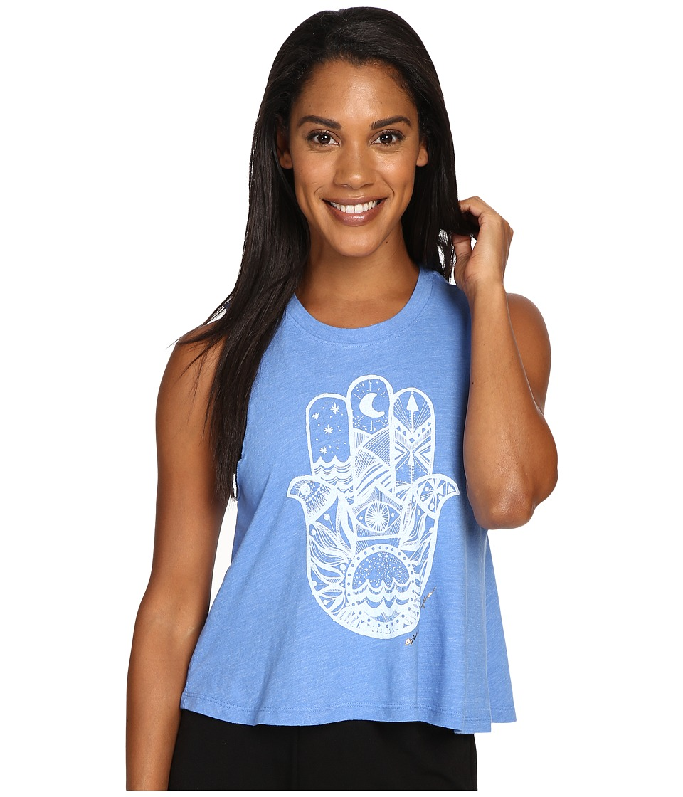 Spiritual Gangster - Hamsa Waves Tank (Ultramarine) Women's Workout