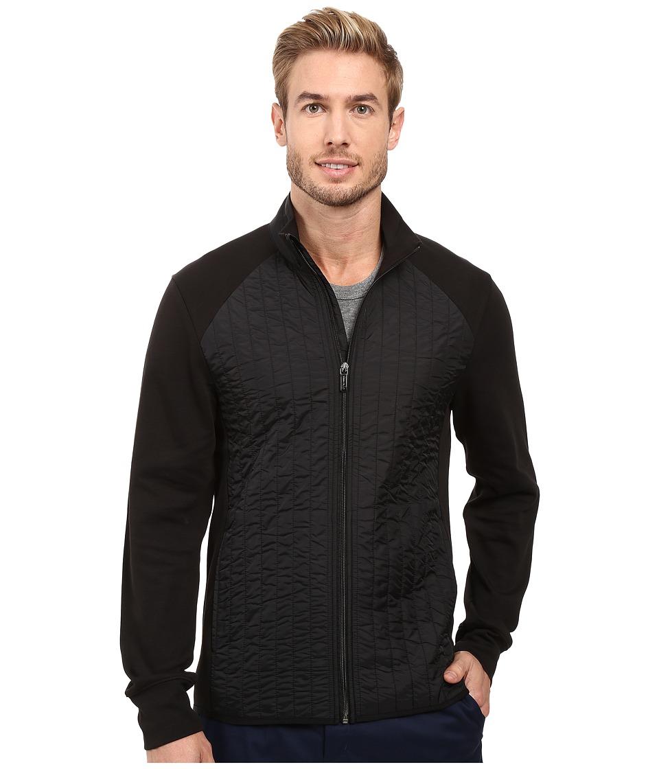 Perry Ellis - Quilted Mix Media Knit Jacket (Black) Men's Coat