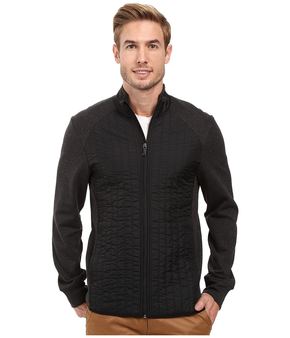 Perry Ellis - Quilted Mix Media Knit Jacket (Charcoal Heather) Men's Coat