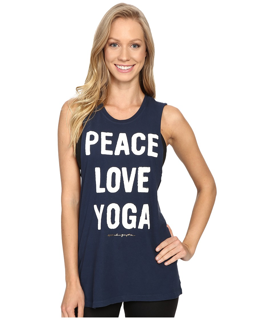 Spiritual Gangster - Peace Love Yoga Rocker Tank Top (Indigo) Women's Sleeveless