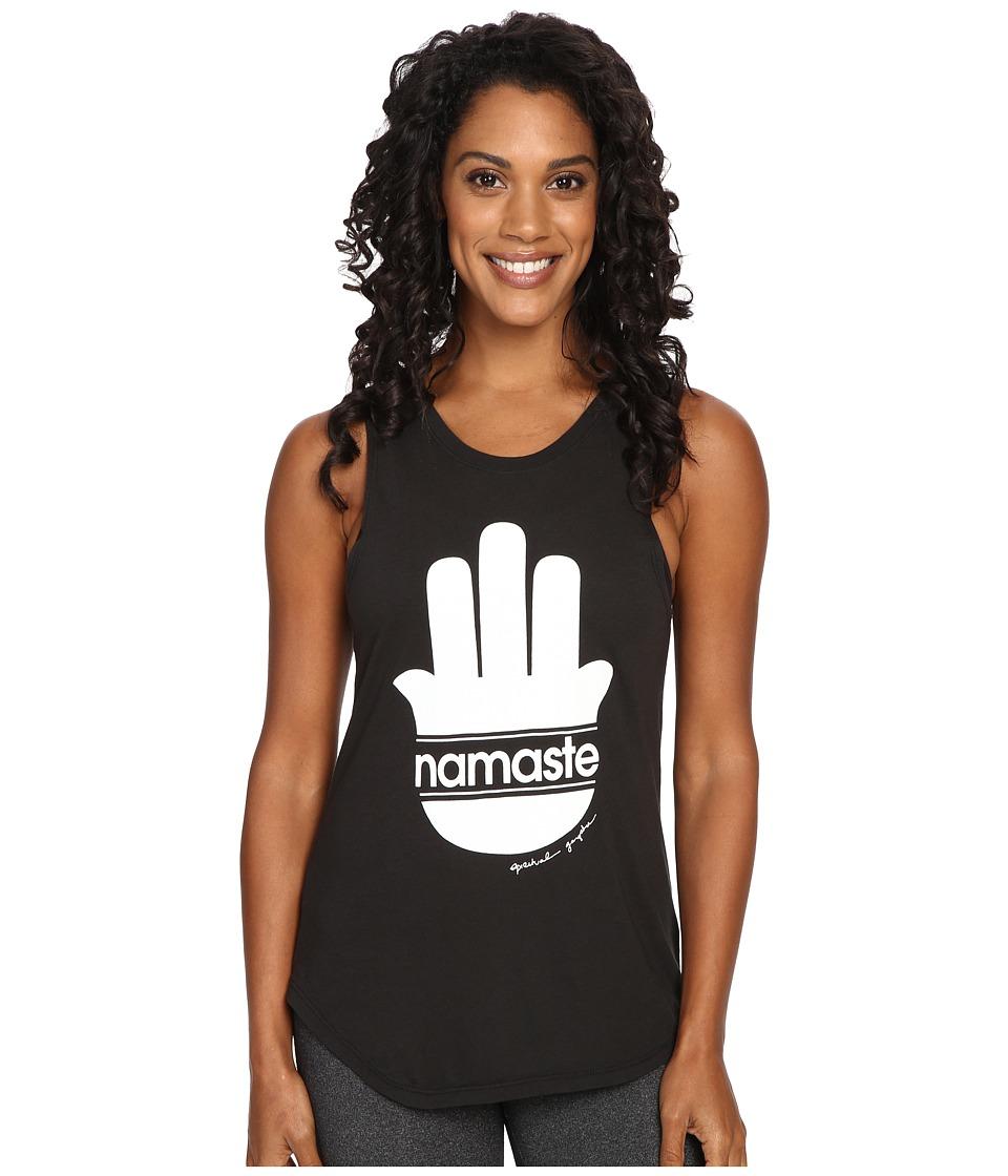 Spiritual Gangster - Namaste Stripes Muscle Tank Top (Vintage Black) Women's Sleeveless