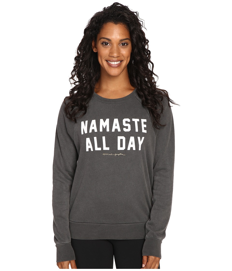 Spiritual Gangster - Namaste All Day Old School Pullover (Vintage Black) Women's Clothing