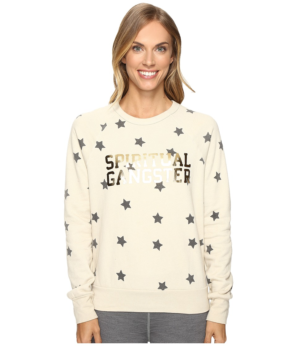 Spiritual Gangster - SG Varsity Stars Old School Pullover (Cement) Women's Clothing