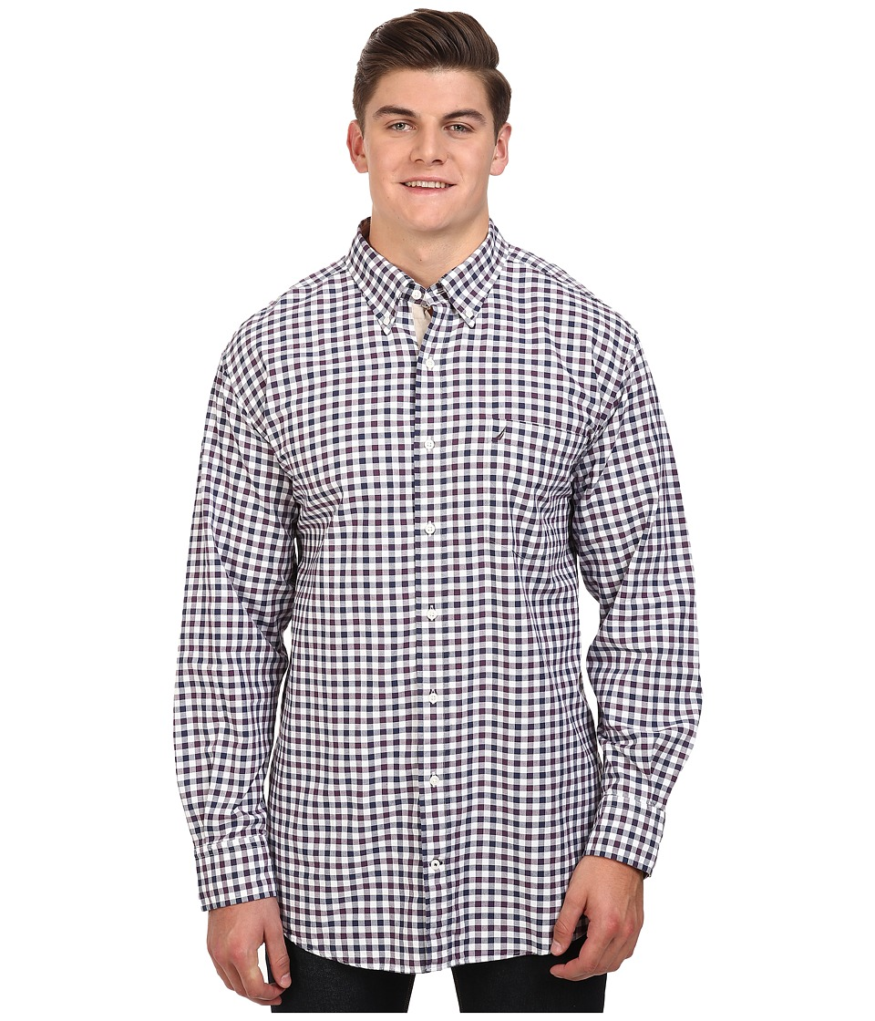 Nautica Big & Tall - Big Tall Long Sleeve Check Pocket (Blackberry Wine) Men's Clothing