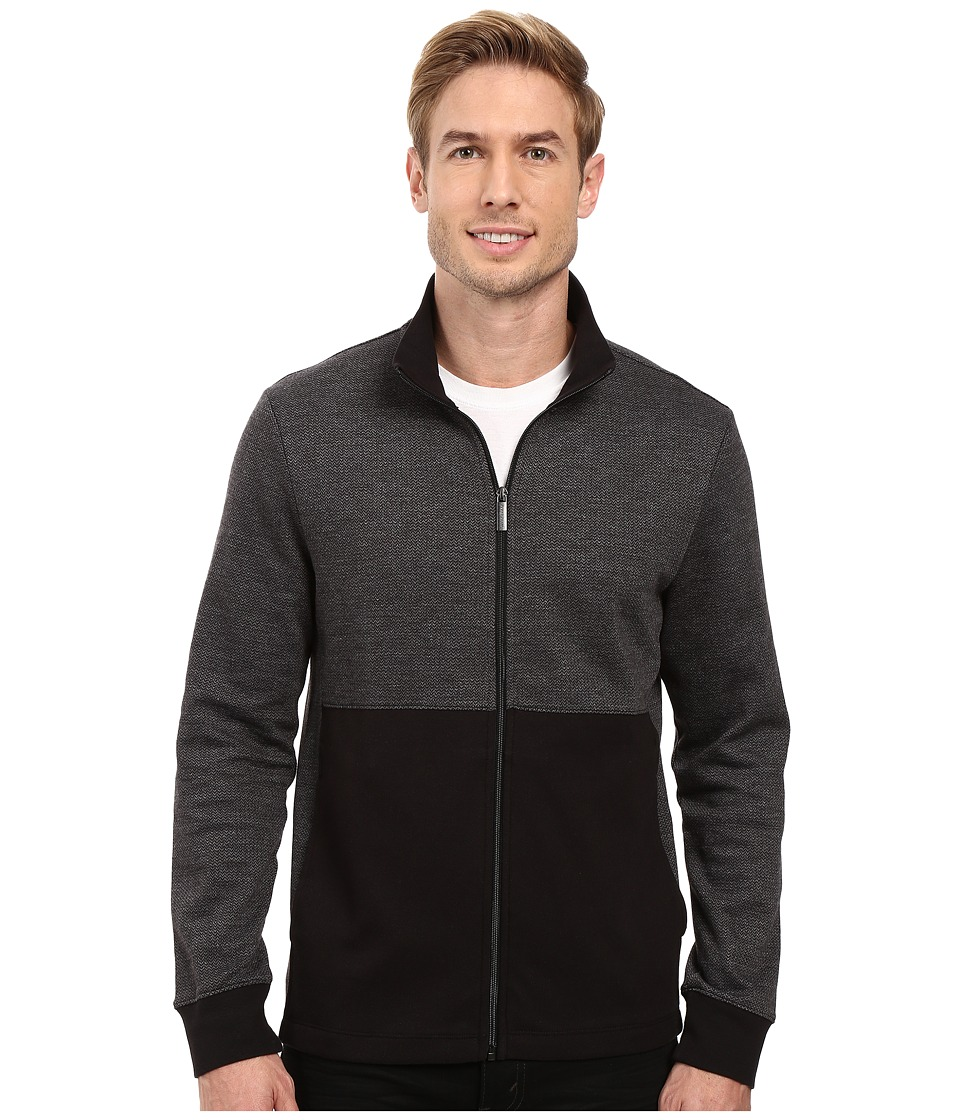 Perry Ellis - Classic Full Zip Herringbone Knit Jacket (Black) Men's Coat