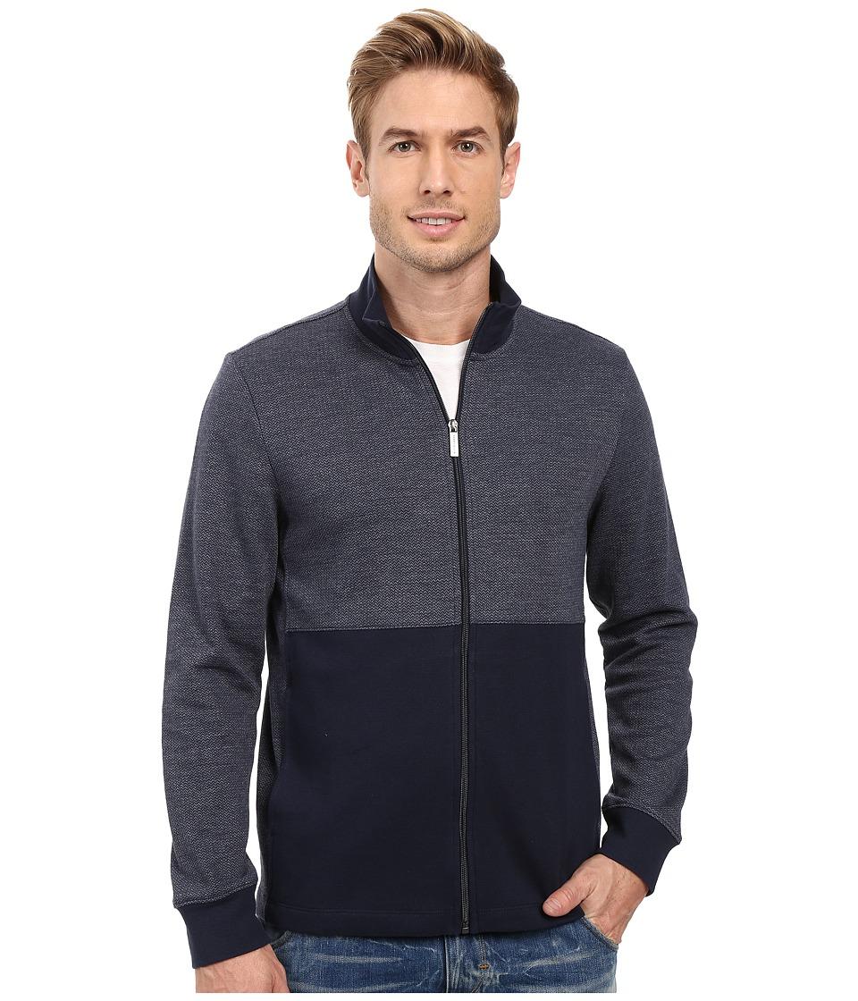 Perry Ellis - Classic Full Zip Herringbone Knit Jacket (Dark Sapphire) Men's Coat