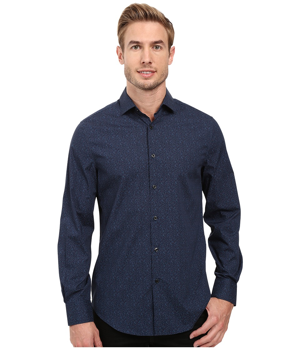 Perry Ellis - Regular Fit Stretch Cotton Floral Print Shirt (Ink) Men's Long Sleeve Button Up