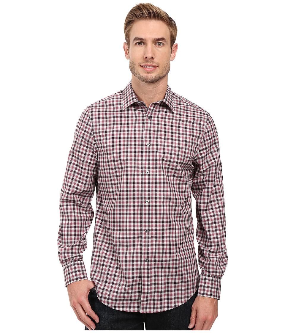 Perry Ellis - Regular Fit Non Iron Check Pattern Shirt (Tulipwood) Men's Long Sleeve Button Up