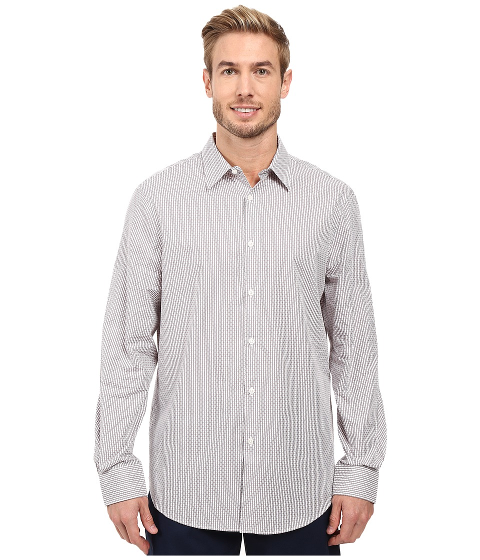 Perry Ellis - Regular Fit Stripe Texture Pattern Shirt (Bright White) Men's Long Sleeve Button Up