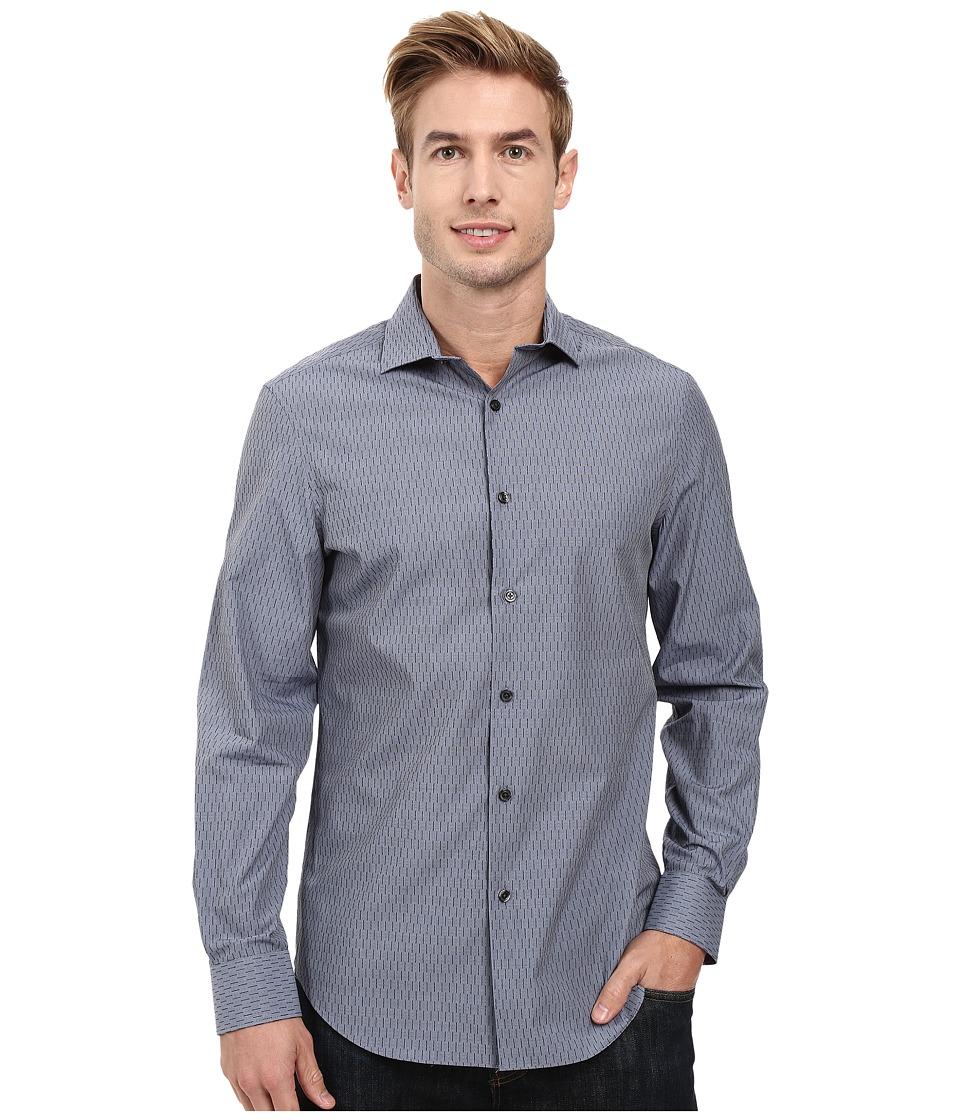 Perry Ellis - Regular Fit Textured Print Shirt (Dark Sapphire) Men's Clothing