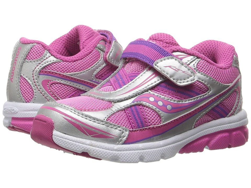 Saucony Kids Ride (Toddler/Little Kid) (Pink/Silver) Girls Shoes