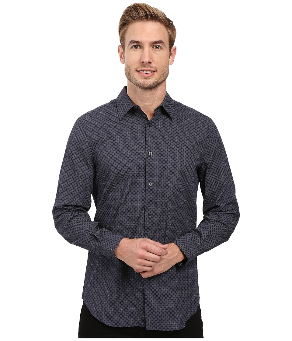 Perry Ellis - Regualr Fit Exclusive Mini Square Print Shirt (Ink) Men's Long Sleeve Button Up