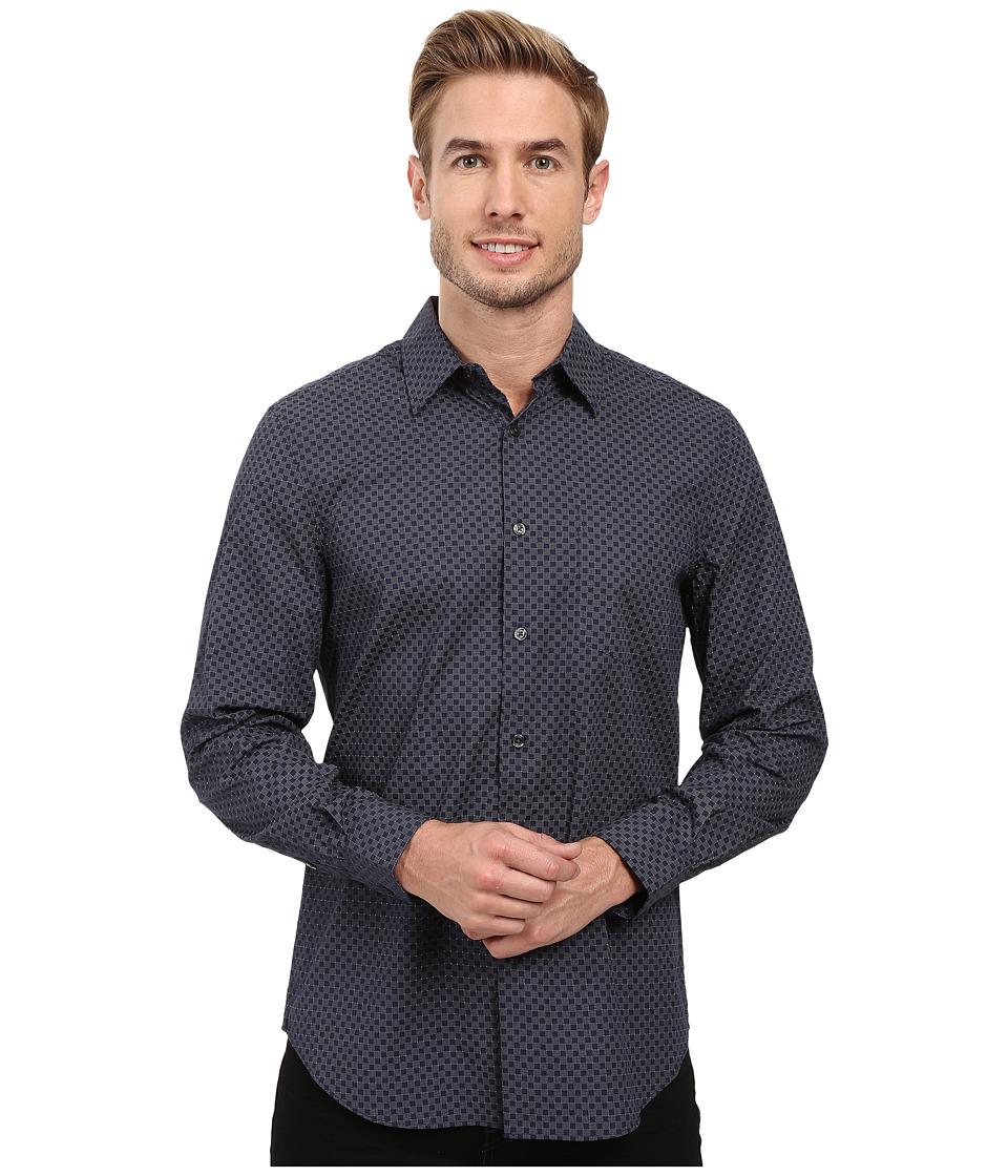 Perry Ellis - Regualr Fit Exclusive Mini Square Print Shirt (Ink) Men's Long Sleeve Button Up