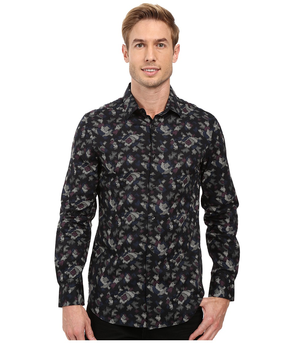 Perry Ellis - Slim Fit Multicolor Camo Print Shirt (Black) Men's Long Sleeve Button Up