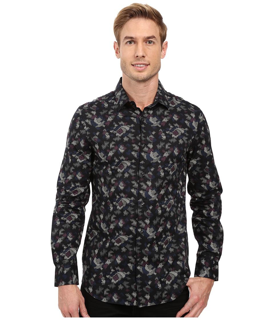 Perry Ellis - Slim Fit Multicolor Camo Print Shirt (Black) Men's Long Sleeve Button Up