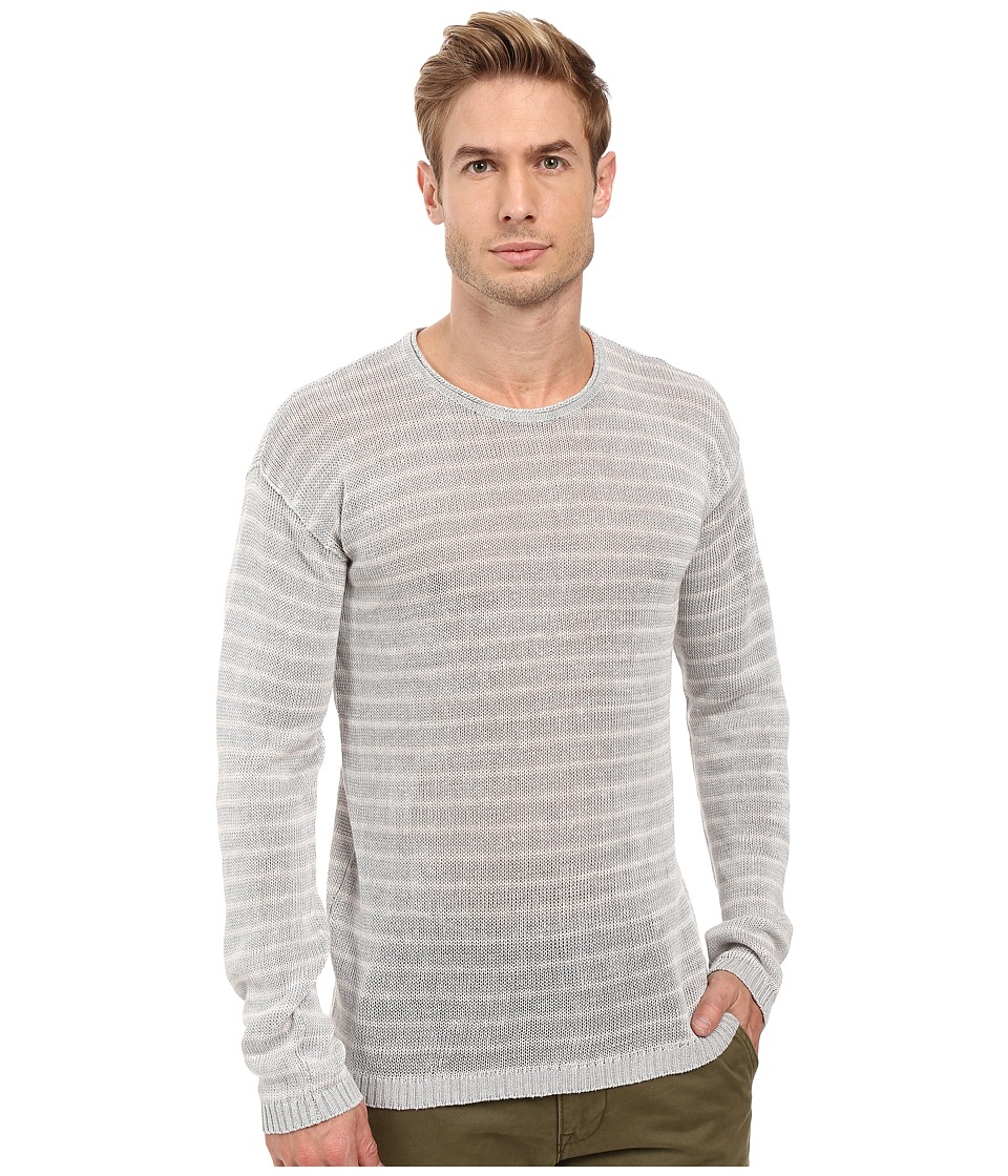 John Varvatos Star U.S.A. Striped Long Sleeve Crew Neck Sweater Y1313S2B (Dew Grey) Men