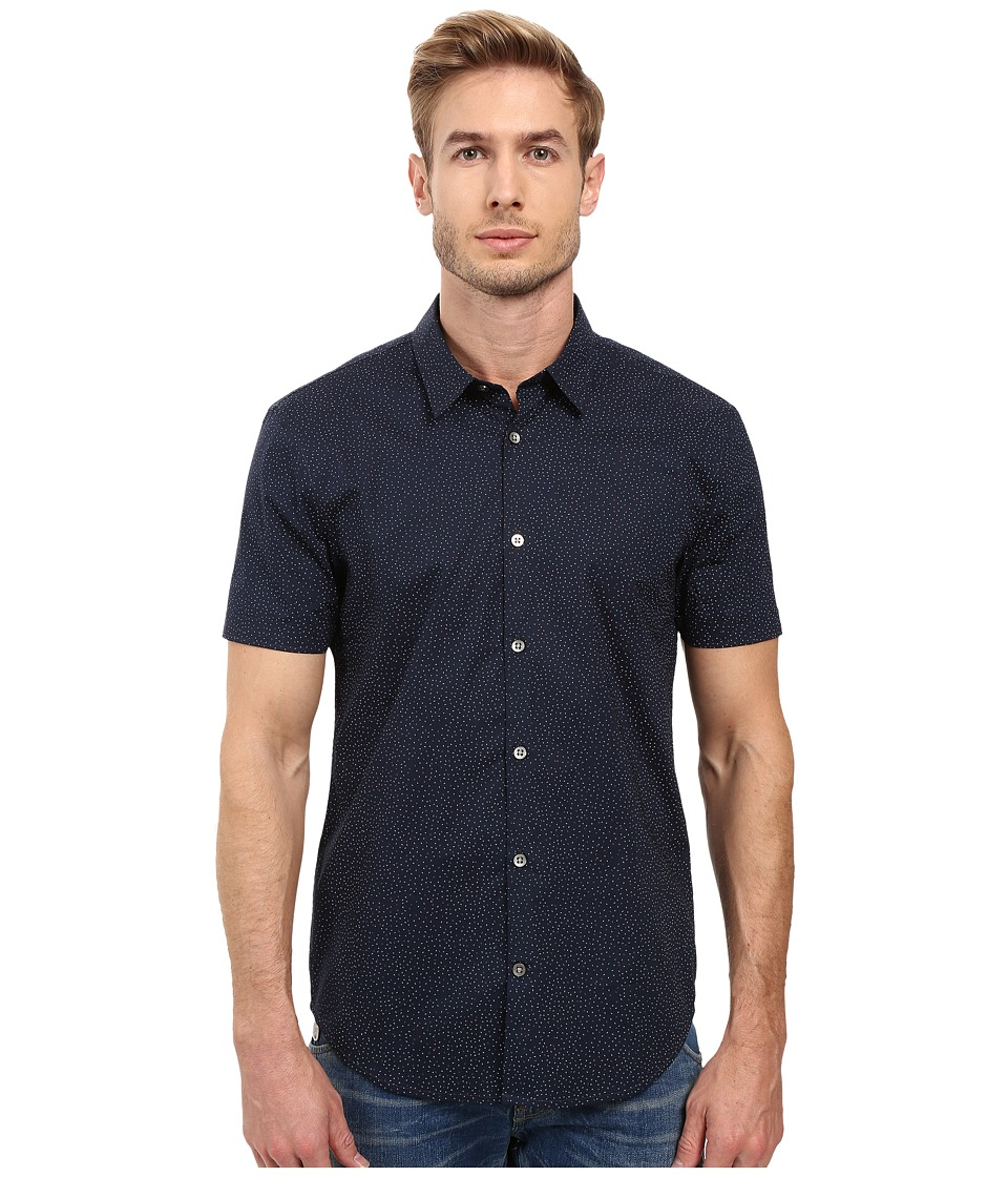 John Varvatos Star U.S.A. - Slim Fit Sport Shirt with Cuffed Short Sleeves W443S2L (Indigo) Men's Short Sleeve Button Up