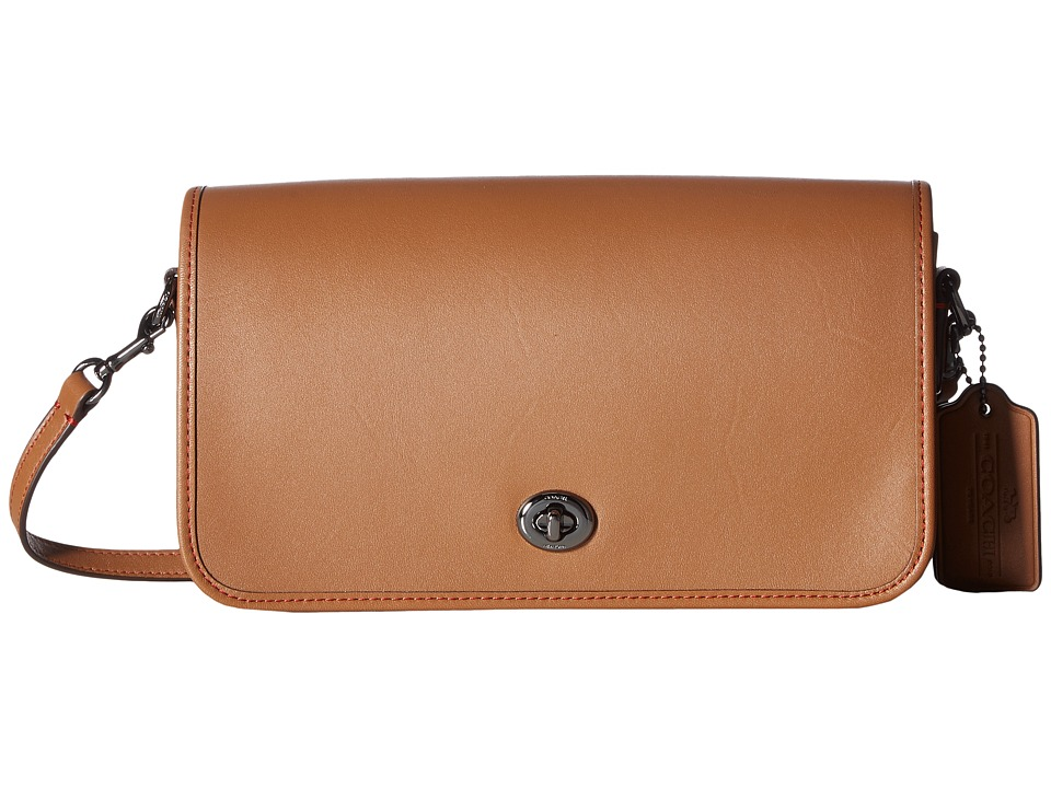 COACH - Glovetan Turnlock Crossbody (DK/Saddle) Cross Body Handbags