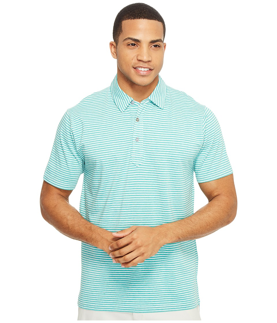 tasc Performance - Air Stretch Polo (Maldives Heather/Light Heather Gray 3mm Stripe) Men's Clothing