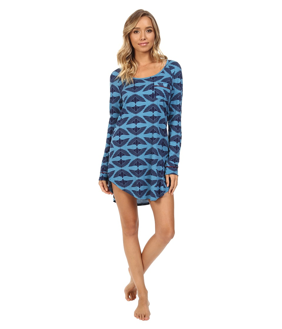 Cosabella - Bella Long Sleeve Sleep Dress (Deco Fans Ardesia Blue/Deep Ruby) Women's Pajama