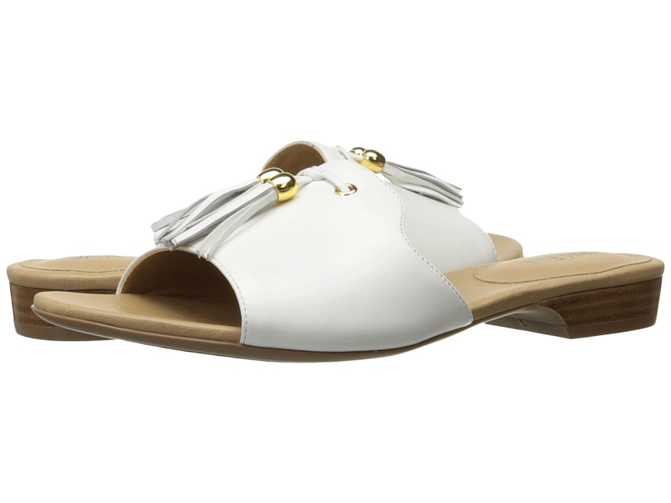 Vaneli - Blizzi (White Nappa/Gold Trim) Women's Dress Sandals