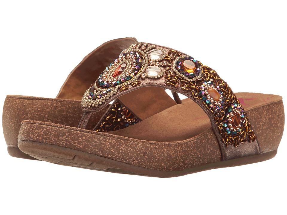 Comfortiva - Sade (Havana Brown Acrylic Stone Embellished) Women's Wedge Shoes