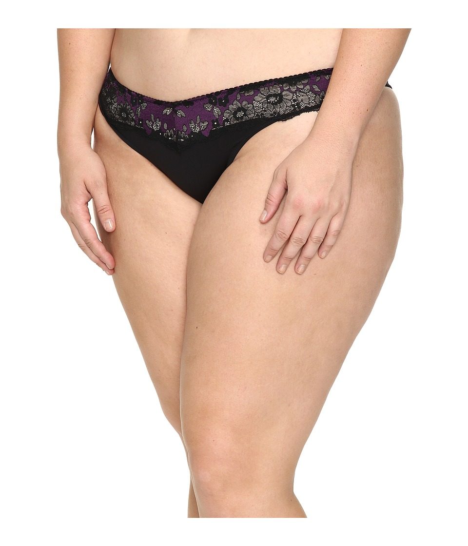 Cosabella - Italia Thong Extended (Black/Plum) Women's Underwear