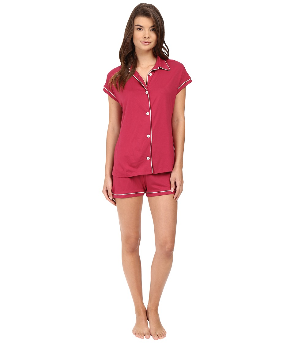 Cosabella - Bella Cap Sleeve Top Boxer Set (Deep Ruby/Ivory) Women's Pajama Sets